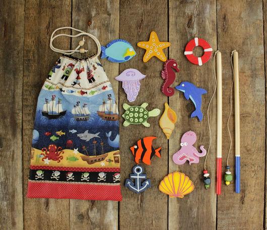 Развивающие игрушки ручной работы. Ярмарка Мастеров - ручная работа. Купить Морская рыбалка в мешочке. Handmade. Комбинированный, морская игра