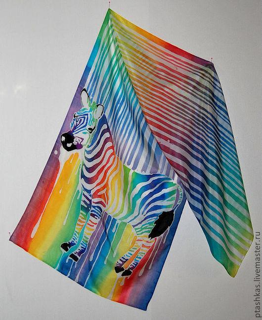 Шали, палантины ручной работы. Ярмарка Мастеров - ручная работа. Купить Батик шарф Зебра моей жизни.... Handmade.