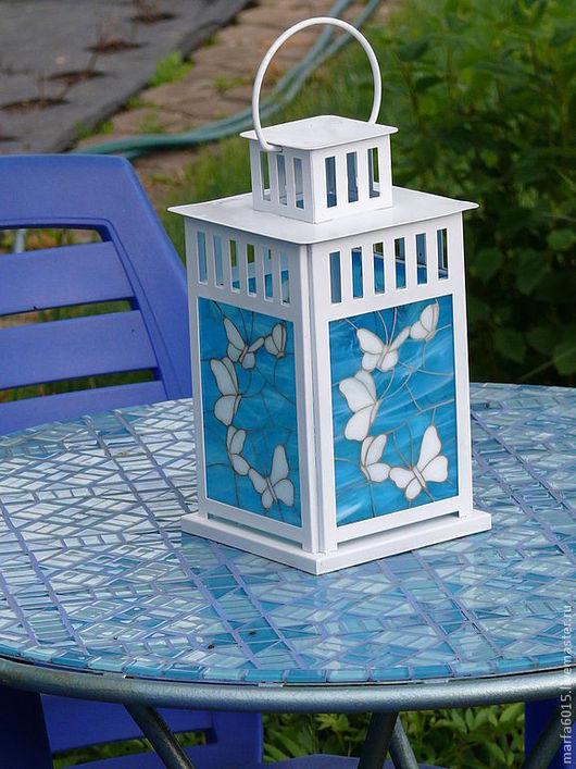 """Экстерьер и дача ручной работы. Ярмарка Мастеров - ручная работа. Купить """"Бабочки"""" белые и красные. Handmade. Фонарь, голубой"""