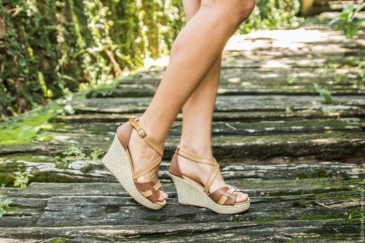 Обувь ручной работы. Ярмарка Мастеров - ручная работа. Купить Босоножки из натуральной кожи Vicky. Handmade. Коричневый, босоножки из кожи