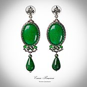 Украшения handmade. Livemaster - original item Earrings-ear-stud: Green earrings. Green chrysoprase. Long earrings.. Handmade.
