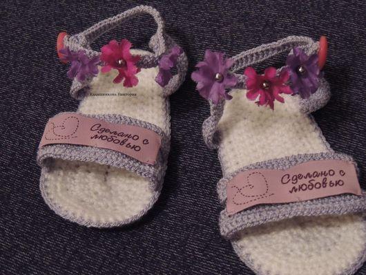Для новорожденных, ручной работы. Ярмарка Мастеров - ручная работа. Купить Летние вязаные сандалии для девочки крючком. Handmade. для девочки