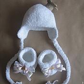 Работы для детей, ручной работы. Ярмарка Мастеров - ручная работа Шапочка и пинетки для Принцессы. Handmade.