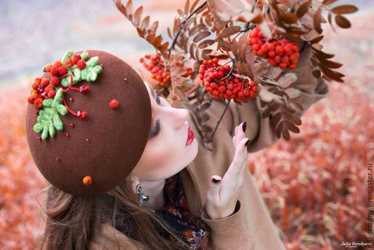 """Шляпы ручной работы. Ярмарка Мастеров - ручная работа. Купить Берет """"Рябинка"""". Handmade. Коричневый, шляпка, головные уборы"""