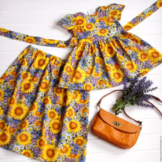 """Одежда для девочек, ручной работы. Ярмарка Мастеров - ручная работа. Купить Фемили лук """"Подсолнухи"""". Handmade. Комбинированный, фемили лук"""
