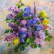 Картины и панно handmade. Livemaster - original item Oil painting lilac irises oil on Canvas 40на50. Handmade.