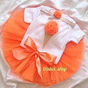Работы для детей, handmade. Livemaster - original item Orange set with tulle skirt ice Cream. Handmade.