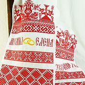 Свадебный салон handmade. Livemaster - original item Wedding name rushnik Slavic symbols amulets Wedding rushnik. Handmade.
