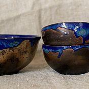 """Посуда ручной работы. Ярмарка Мастеров - ручная работа Набор пиал """"Темная вода"""" (6 предметов). Handmade."""