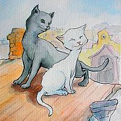 Картины и панно handmade. Livemaster - original item Cats in love on the roof Postcard or Poster. Handmade.