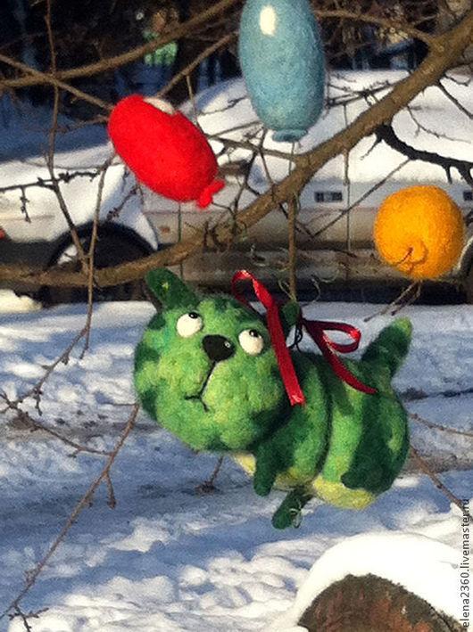 Игрушки животные, ручной работы. Ярмарка Мастеров - ручная работа. Купить Котик-Арбузик(валяние). Handmade. Зеленый, Валяние, свадьба, проволока