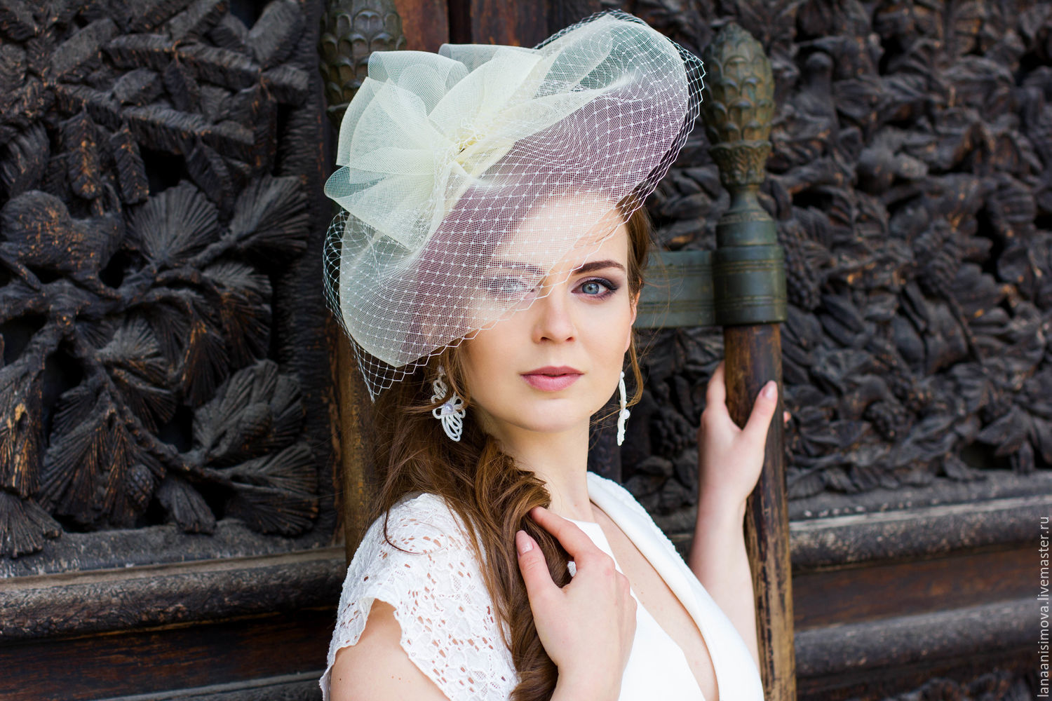wedding hat with a brim. color ivory – shop online on Livemaster with  shipping b87ead3d4f2