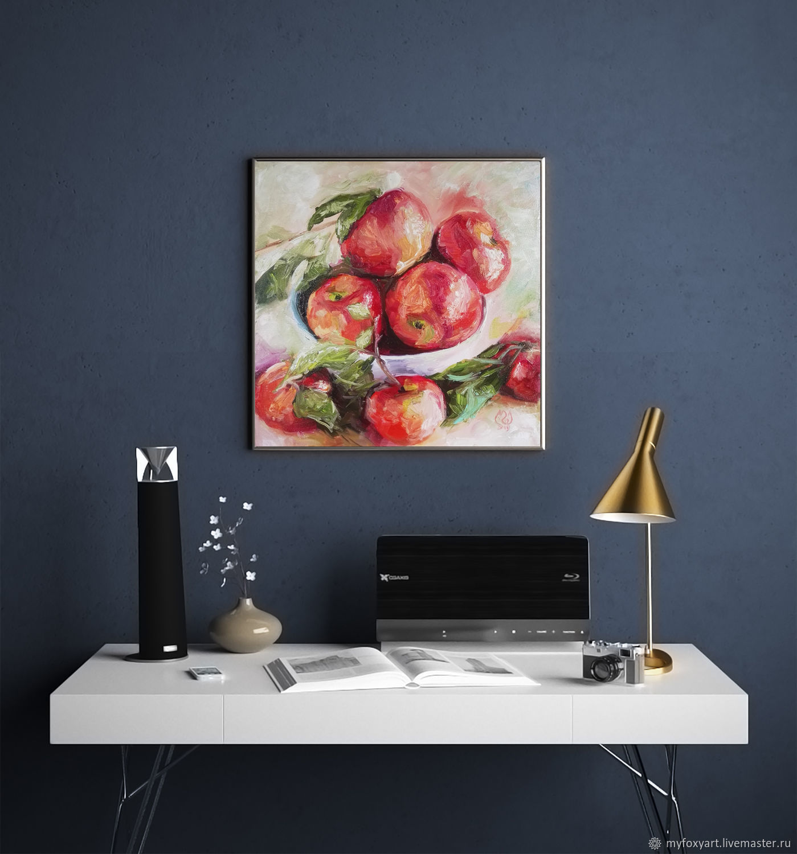 Яблоки в вазе, картина на холсте, натюрморт с яблоками, Картины, Санкт-Петербург,  Фото №1