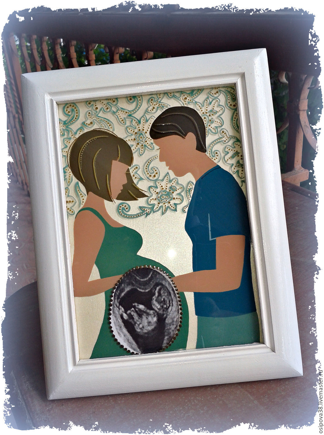 Frame for ultrasound shop online on livemaster with shipping gifts for newborns handmade frame for ultrasound painting and decor olga jeuxipadfo Choice Image