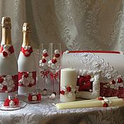 """Свадебный салон ручной работы. Ярмарка Мастеров - ручная работа Свадебный набор """"Красный"""". Handmade."""