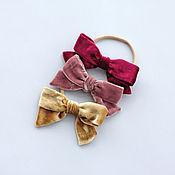 Работы для детей, handmade. Livemaster - original item Children`s bandage-Velvet silk bow. Handmade.