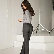 handmade. Livemaster - original item Black polka-dot denim flared trousers, grey tight-fitting flared trousers. Handmade.