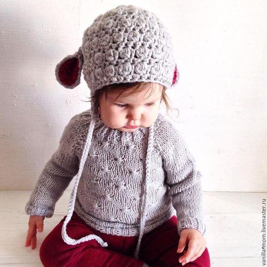 Одежда для девочек, ручной работы. Ярмарка Мастеров - ручная работа. Купить Свитер и шапочка овечка из альпаки и шерсти. Handmade. Серый