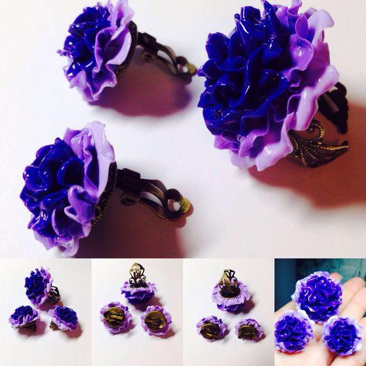 """Комплекты украшений ручной работы. Ярмарка Мастеров - ручная работа. Купить """"Фиолетовый пион """" с кристаллами Swarovski. Handmade."""
