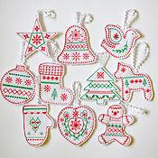 Подарки к праздникам handmade. Livemaster - original item Scandinavia. A set of Christmas ornaments.. Handmade.