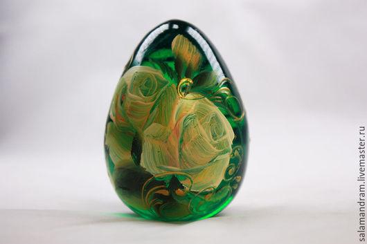 Подарки на Пасху ручной работы. Ярмарка Мастеров - ручная работа. Купить Пасхальное яйцо. Handmade. Тёмно-зелёный, стекло