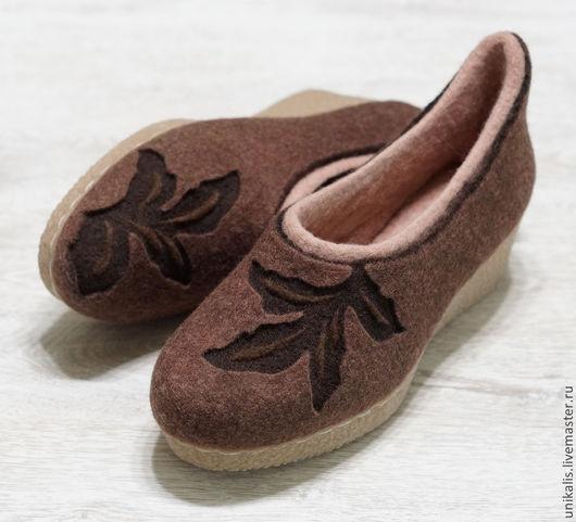 """Обувь ручной работы. Ярмарка Мастеров - ручная работа. Купить Валяные офисные туфельки """"Вкус шоколада"""". Handmade. Коричневый"""