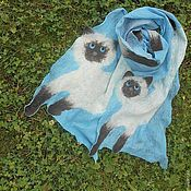 """Аксессуары ручной работы. Ярмарка Мастеров - ручная работа Шарф """"Два кота,летящих по небу"""" валяный. Handmade."""
