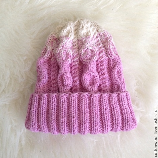 Шапки и шарфы ручной работы. Ярмарка Мастеров - ручная работа. Купить Шерстяная шапочка розово-сиреневого цвета с подворотом. Handmade.