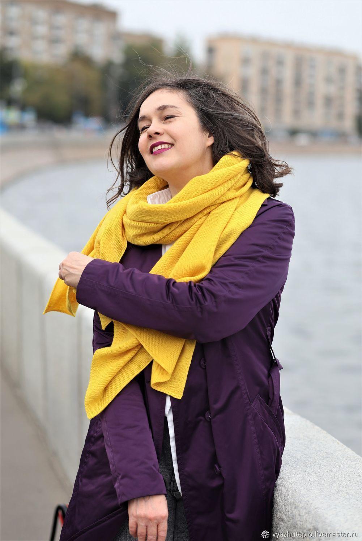 Шарф вязаный яркий зимний Сияние желтый, Шарфы, Москва,  Фото №1