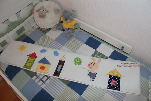 Детская ручной работы. Ярмарка Мастеров - ручная работа. Купить Бортики в детскую кроватку. Handmade. Белый, бортики домики, домик
