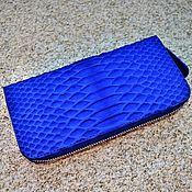 Wallets handmade. Livemaster - original item Blue Python skin zipper wallet. Handmade.