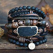 handmade. Livemaster - original item Leather bracelet with black tourmaline