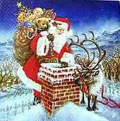 Материалы для творчества handmade. Livemaster - original item 159.  Napkin for decoupage Christmas Santa Claus on the roof. Handmade.
