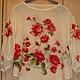 Блузка из павловопосадских платков Розы на снегу. Уютная, комфортная, нарядная, рубашечный рукав, р.46-52