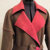 Одежда ручной работы. Ярмарка Мастеров - ручная работа Пальто халат из валенной шерсти двухсторонее.. Handmade.