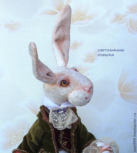 """Мишки Тедди ручной работы. Ярмарка Мастеров - ручная работа. Купить плюшевый кролик """"Белый кролик в оливковом"""". Handmade. Белый"""