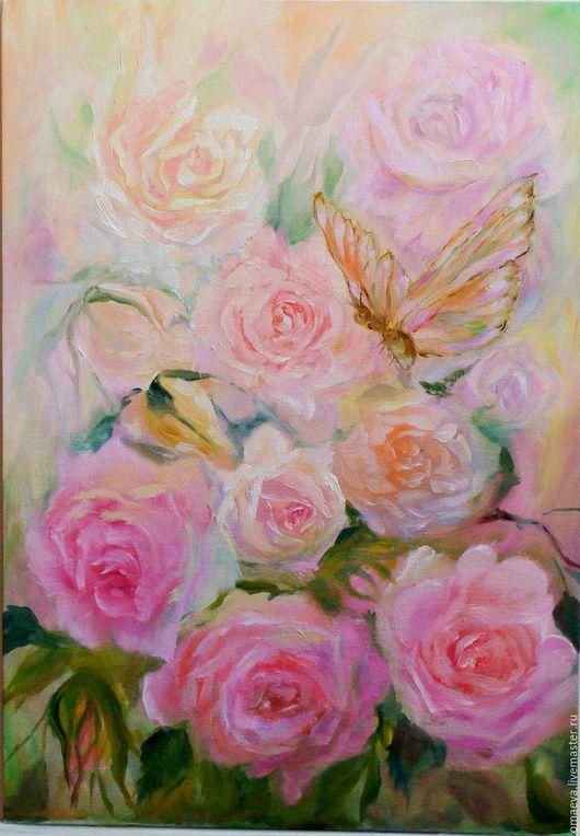 Картины цветов ручной работы. Ярмарка Мастеров - ручная работа. Купить Картина ,  Розы и бабочка,розовый,персиковый,зелёный. Handmade.