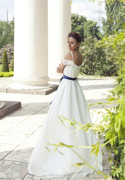 Одежда и аксессуары ручной работы. Ярмарка Мастеров - ручная работа. Купить свадебное платье. Handmade. Белый, шёлк натуральный