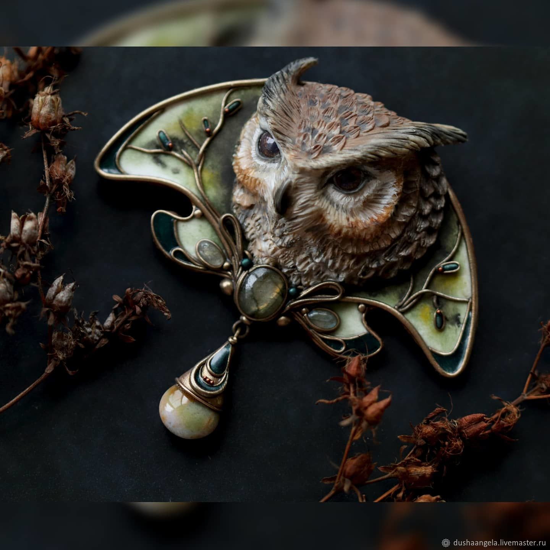 Brooch-pin: ' The gaze of the owl' decoration, owl, bird, Brooches, Vladimir,  Фото №1