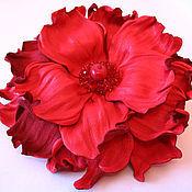 """Украшения ручной работы. Ярмарка Мастеров - ручная работа брошь-цветок """"Энергия красного"""". Handmade."""