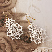 Свадебный салон handmade. Livemaster - original item Bridal earrings lace of frivolite earrings Tenderness of the bride. Handmade.