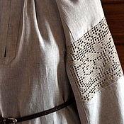 Русский стиль handmade. Livemaster - original item Shirt of linen with lace Small flowers. Handmade.