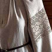 Рубаха льняная с кружевом Мелкие цветы
