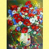 Pictures handmade. Livemaster - original item Oil painting poppies