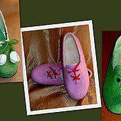 Тапочки ручной работы. Ярмарка Мастеров - ручная работа Домашние валяные туфельки. Handmade.