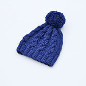 Работы для детей, handmade. Livemaster - original item Children`s hat with pompom and braids.. Handmade.