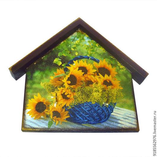 Прихожая ручной работы. Ярмарка Мастеров - ручная работа. Купить Ключница-домик Подсолнухи цветы. Handmade. Желтый, зеленый цвет