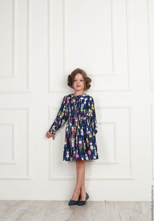 """Одежда для девочек, ручной работы. Ярмарка Мастеров - ручная работа. Купить Винтажное платье """"Bunny"""". Handmade. Тёмно-синий"""