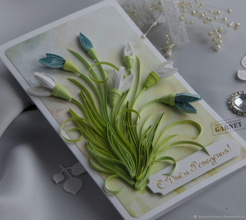 Квиллинг открытки с подснежниками