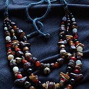 Бусы ручной работы. Ярмарка Мастеров - ручная работа Ожерелье многорядное с диким янтарем, птичками и бубенцами. Handmade.